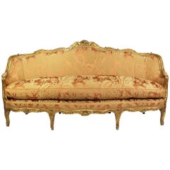 Fine Louis XV Style Giltwood Carved Bergère Settee, Sofa, Attributed to Jansen