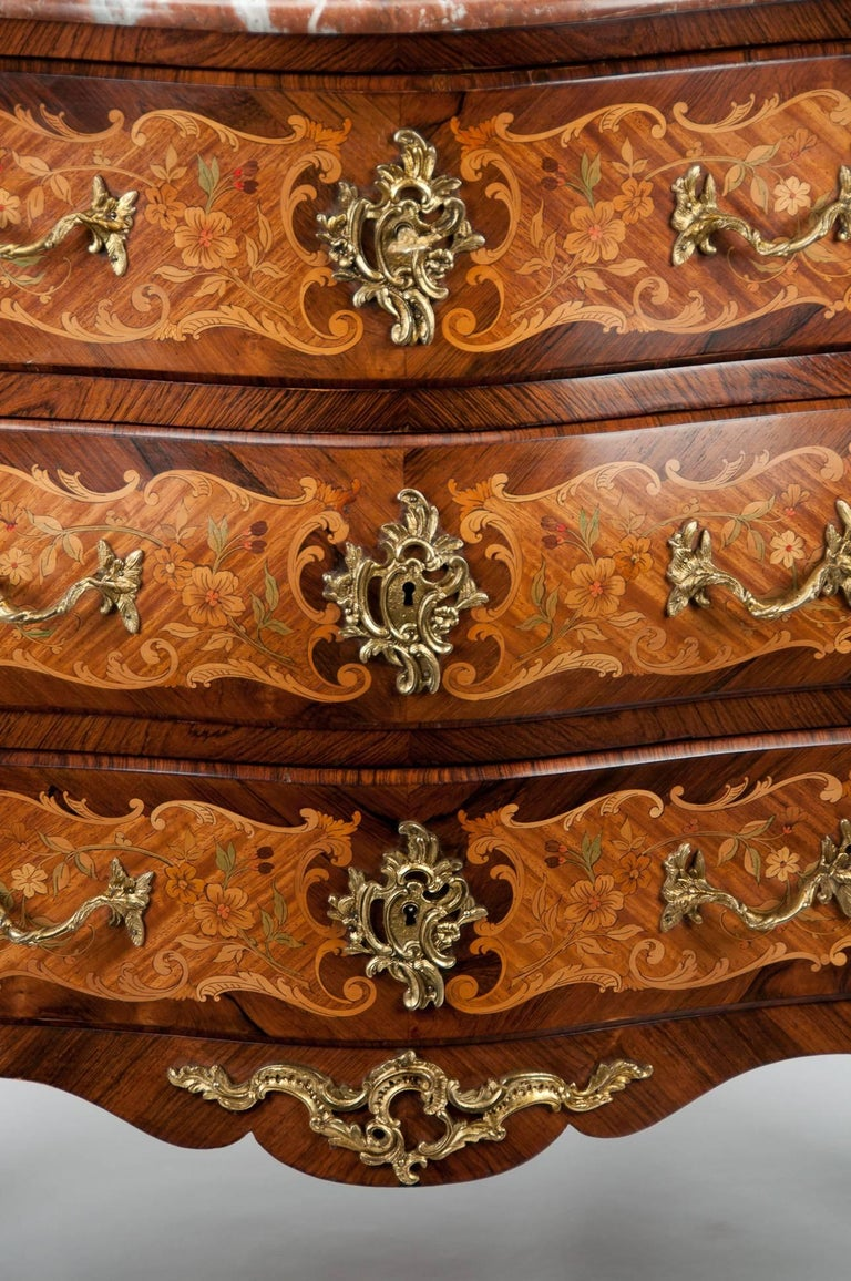 Fine French Louis XV Style Inlaid Bombe Marble Topped Commode For Sale 5