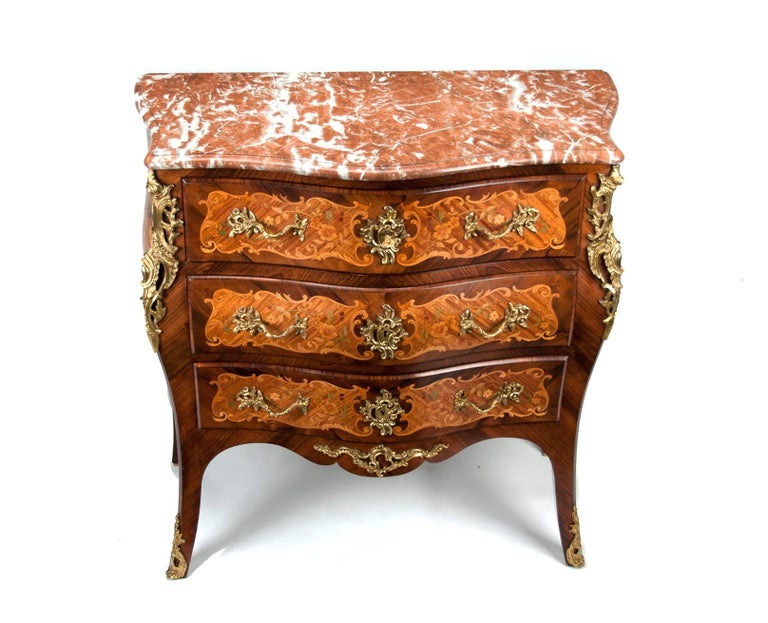 Fine French Louis XV Style Inlaid Bombe Marble Topped Commode For Sale 6