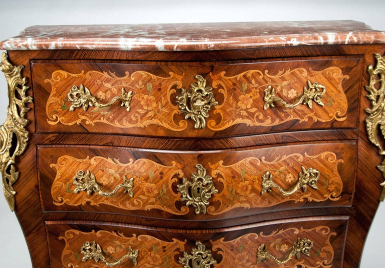 Fine French Louis XV Style Inlaid Bombe Marble Topped Commode For Sale 7