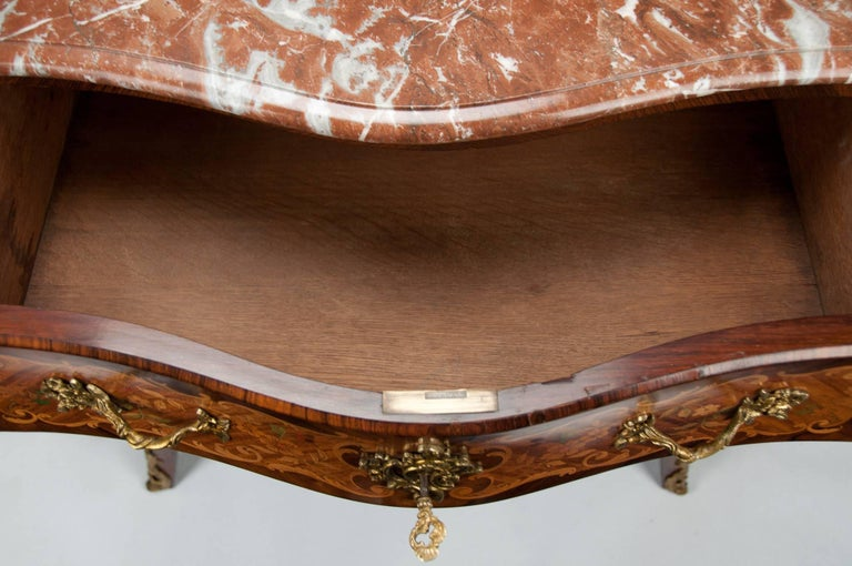 Fine French Louis XV Style Inlaid Bombe Marble Topped Commode For Sale 10