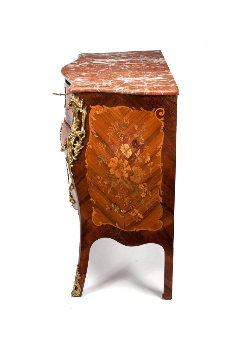 Fine French Louis XV Style Inlaid Bombe Marble Topped Commode For Sale 12