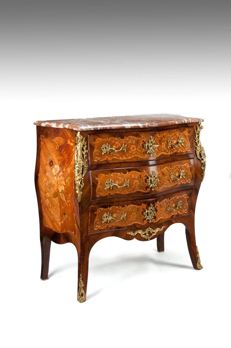 Early 20th Century Fine French Louis XV Style Inlaid Bombe Marble Topped Commode For Sale