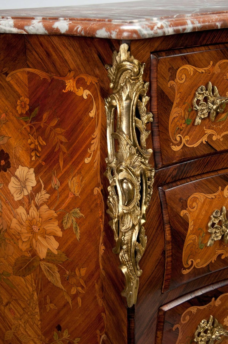 Kingwood Fine French Louis XV Style Inlaid Bombe Marble Topped Commode For Sale