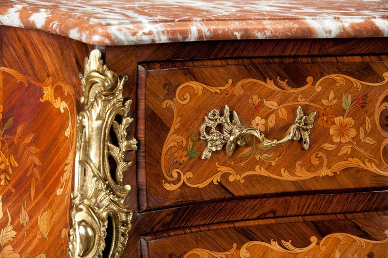 Fine French Louis XV Style Inlaid Bombe Marble Topped Commode For Sale 2