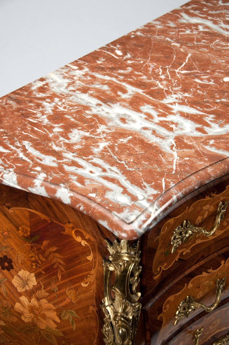 Fine French Louis XV Style Inlaid Bombe Marble Topped Commode For Sale 3
