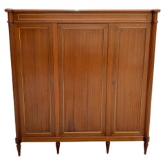 Fine French Louis XVI Antique Mahogany Armoire, 1910s