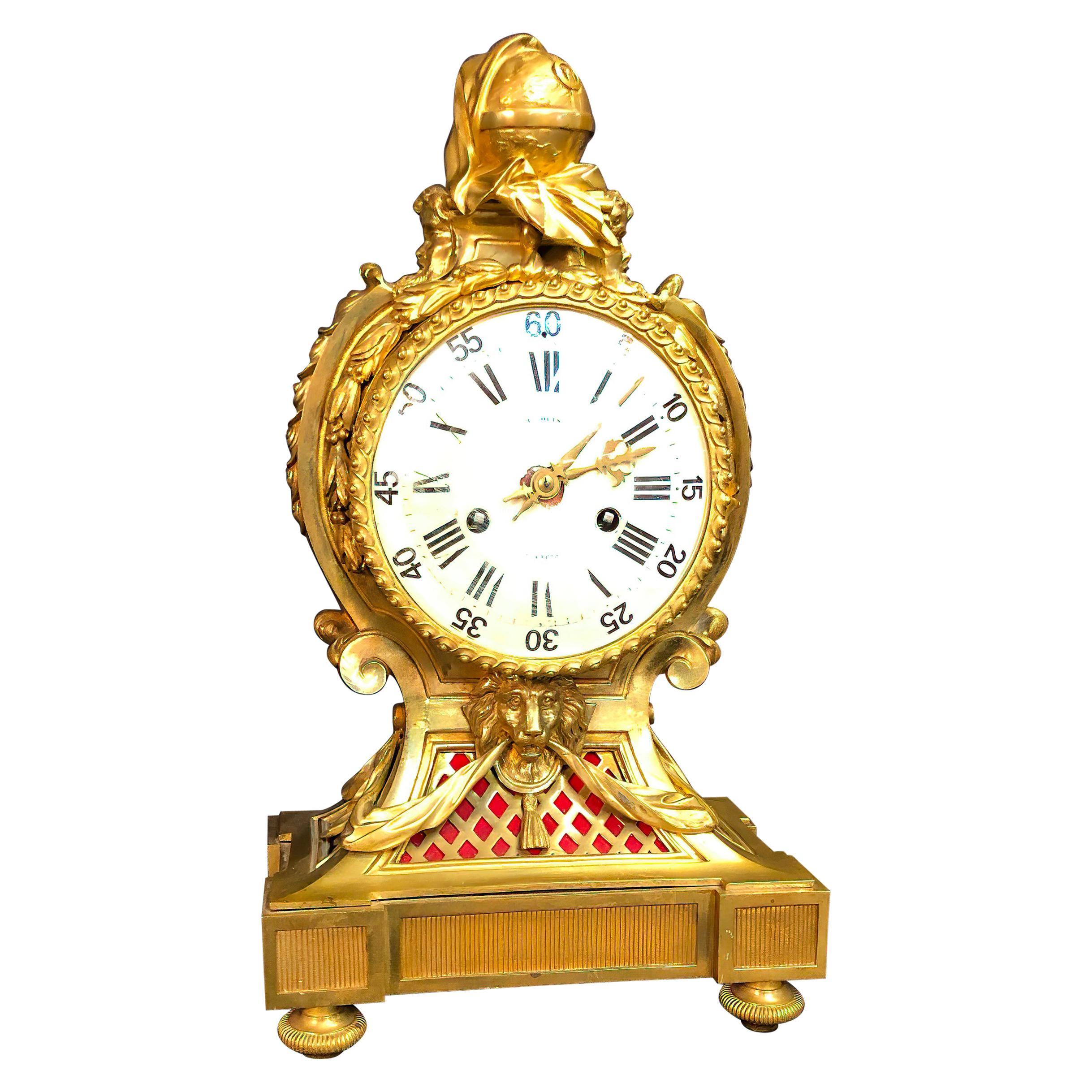 Fine French Louis XVI Bronze Mantel Clock by Marquis a Paris