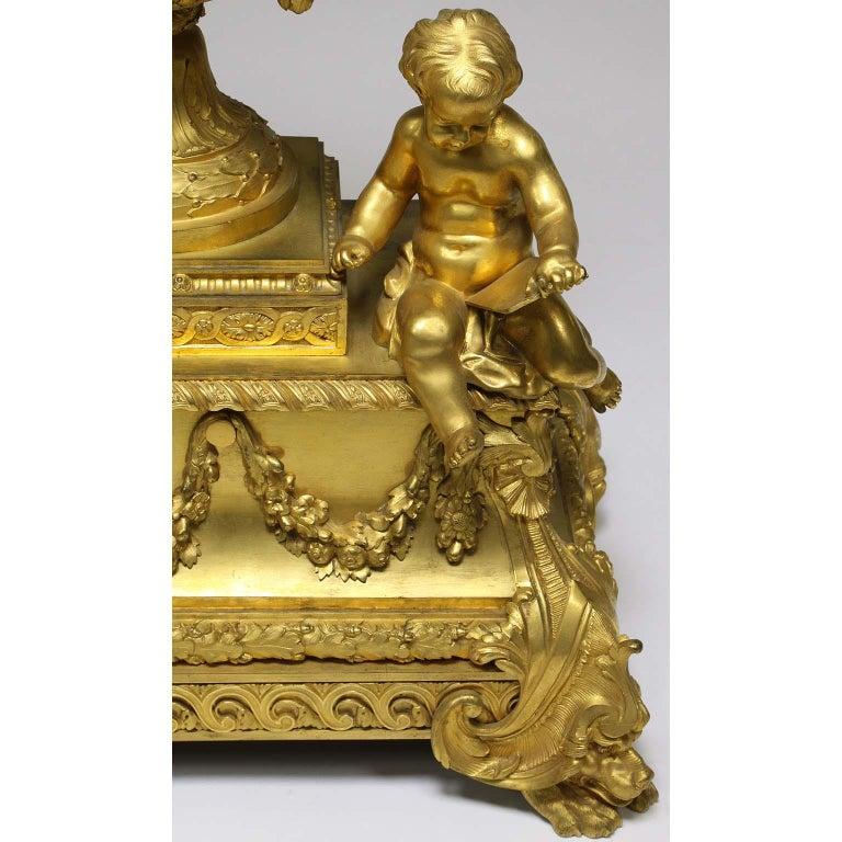 French Louis XVI Style Figural Gilt Bronze Mantel Clock - Étienne Le Noir, Paris For Sale 4