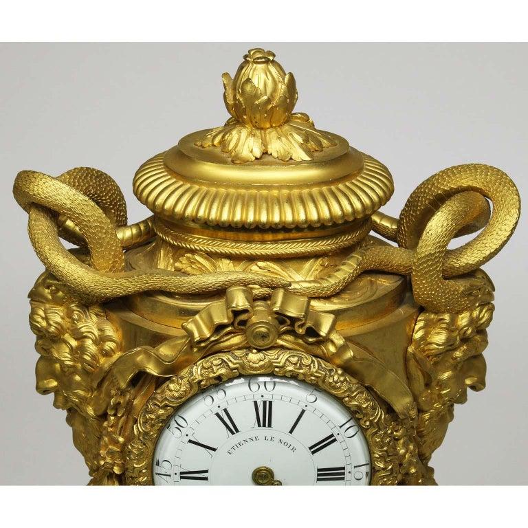 French Louis XVI Style Figural Gilt Bronze Mantel Clock - Étienne Le Noir, Paris For Sale 5