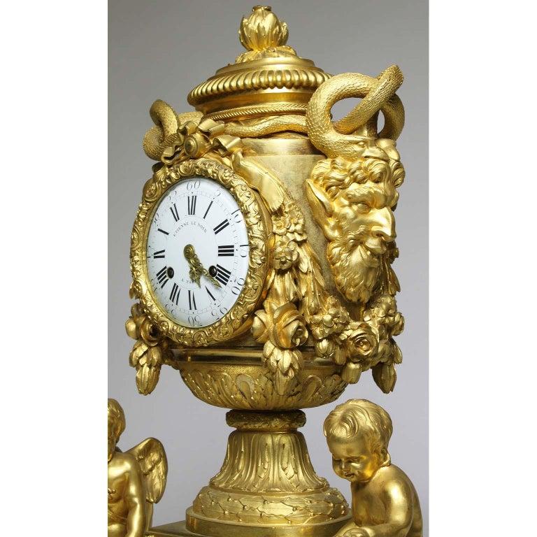 French Louis XVI Style Figural Gilt Bronze Mantel Clock - Étienne Le Noir, Paris For Sale 7
