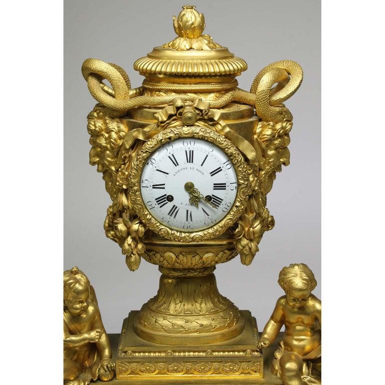 Enameled French Louis XVI Style Figural Gilt Bronze Mantel Clock - Étienne Le Noir, Paris For Sale