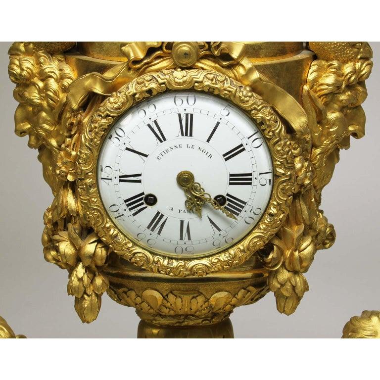 French Louis XVI Style Figural Gilt Bronze Mantel Clock - Étienne Le Noir, Paris In Good Condition For Sale In Los Angeles, CA