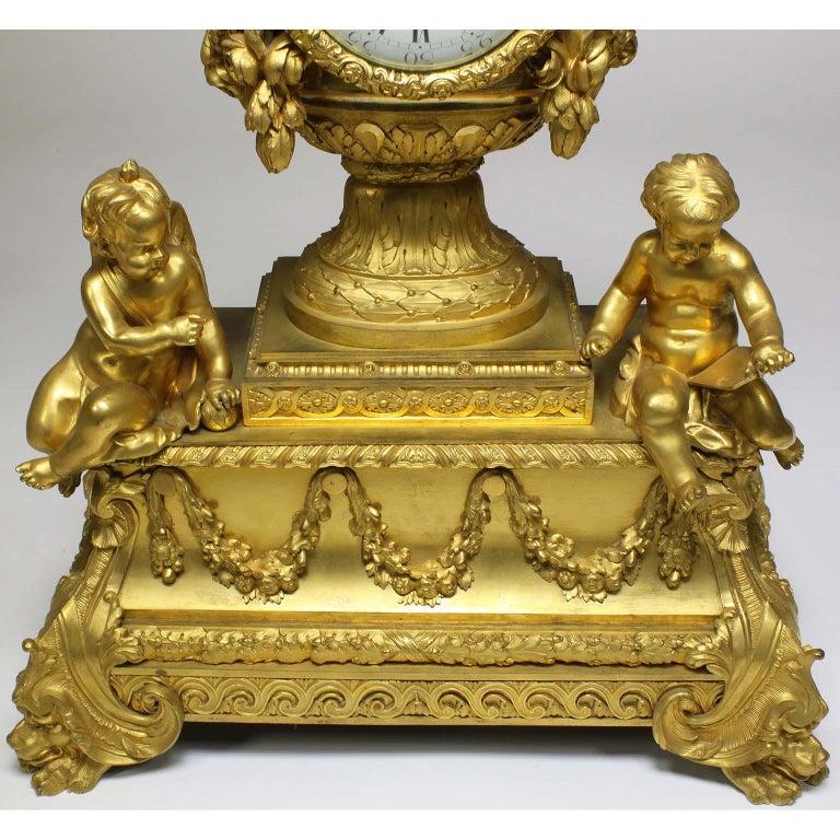 French Louis XVI Style Figural Gilt Bronze Mantel Clock - Étienne Le Noir, Paris For Sale 2