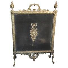 Fine French Louis XVI Gilt Bronze Fireplace Screen Urn Bow Instrument Medallion