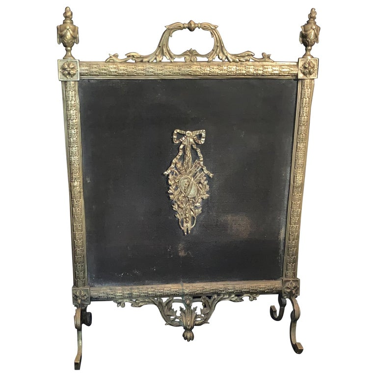 Fine French Louis Xvi Gilt Bronze Fireplace Screen Urn Bow Instrument Medallion