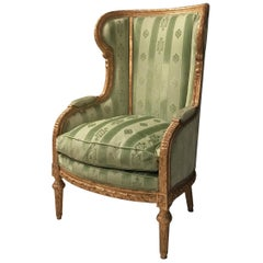 Fine French Louis XVI Giltwood Armchair or Bergère, 1780