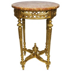 Fine French Louis XVI Style Gilt Wood Carved Guéridon Side Table with Marble Top