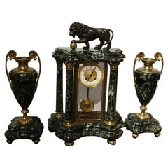 Fine French Marble and Bronze Mantel Clock and Garnitures A.D. Mougin