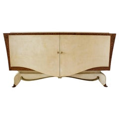 French Modern Parchment, Bronze & Zebrawood Credenza, attributed to Andre Arbus