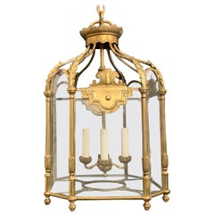 Fine French Neoclassical Bronze Empire Octagonal Glass Panel Lantern Fixture