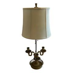 Fine French Neoclassical Bronze Three Candelabra Bouillotte Lamp Silk Shade