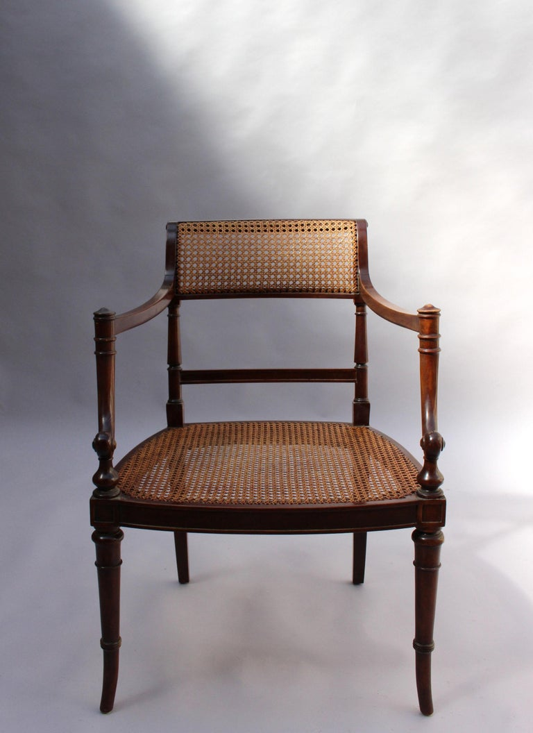 Fine French Neoclassical Mahogany Curved Desk and Armchair For Sale 7