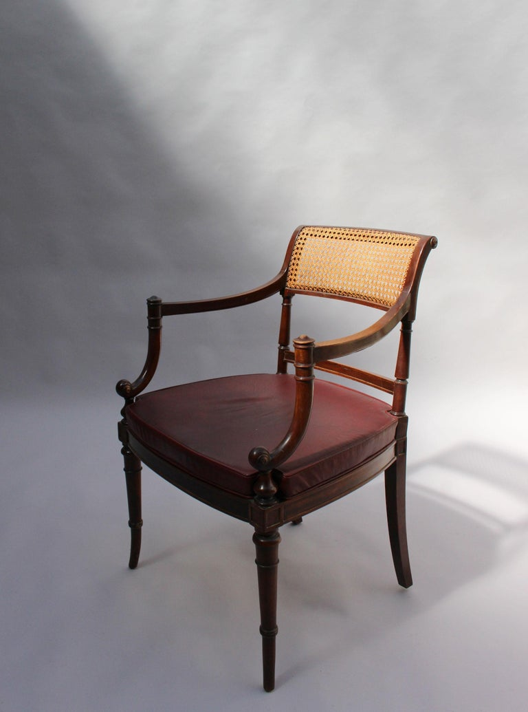 Fine French Neoclassical Mahogany Curved Desk and Armchair For Sale 9