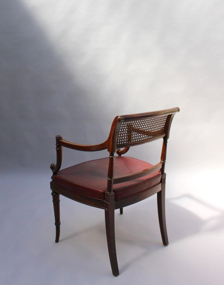 Fine French Neoclassical Mahogany Curved Desk and Armchair For Sale 11