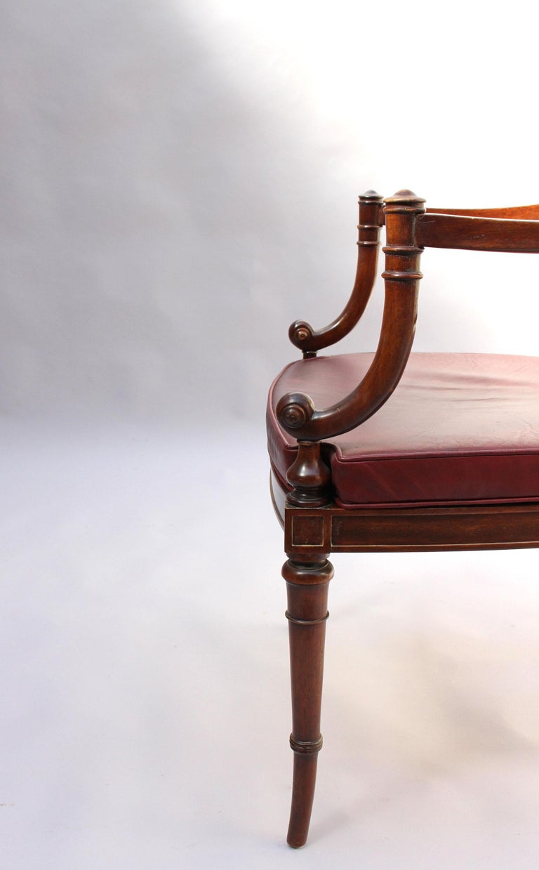 Fine French Neoclassical Mahogany Curved Desk and Armchair For Sale 13