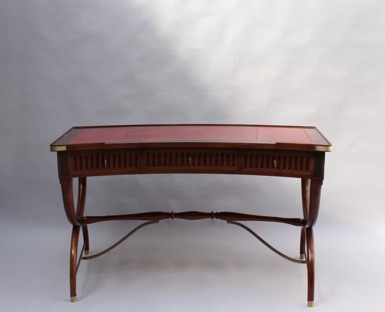 Mid-20th Century Fine French Neoclassical Mahogany Curved Desk and Armchair For Sale