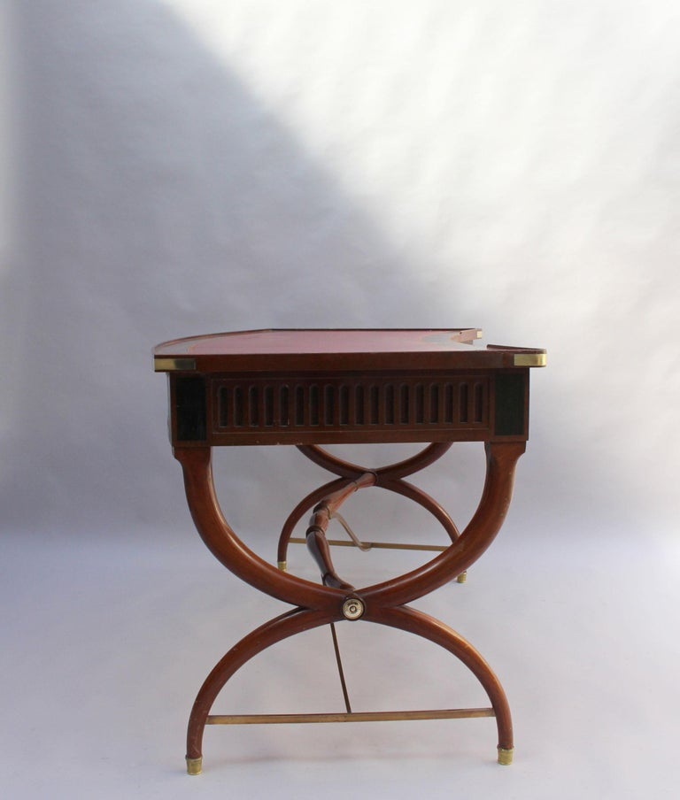 Fine French Neoclassical Mahogany Curved Desk and Armchair For Sale 2