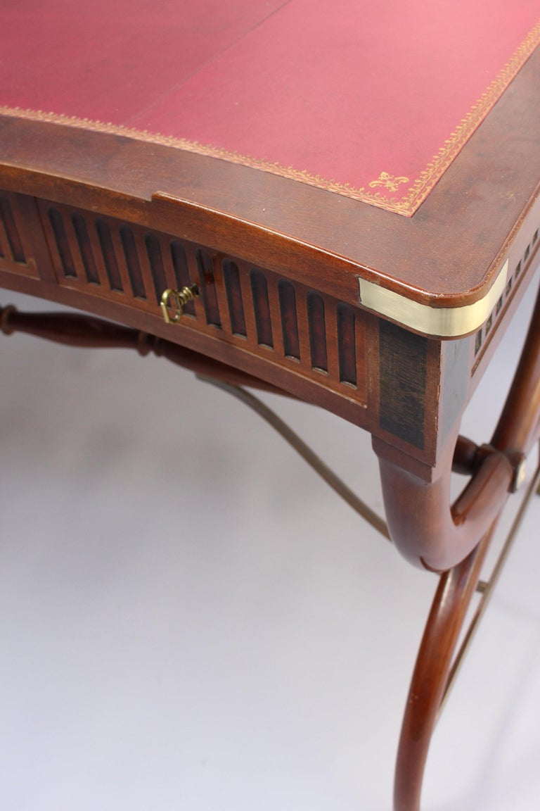 Fine French Neoclassical Mahogany Curved Desk and Armchair For Sale 4
