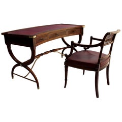 Fine French Neoclassical Mahogany Curved Desk and Armchair