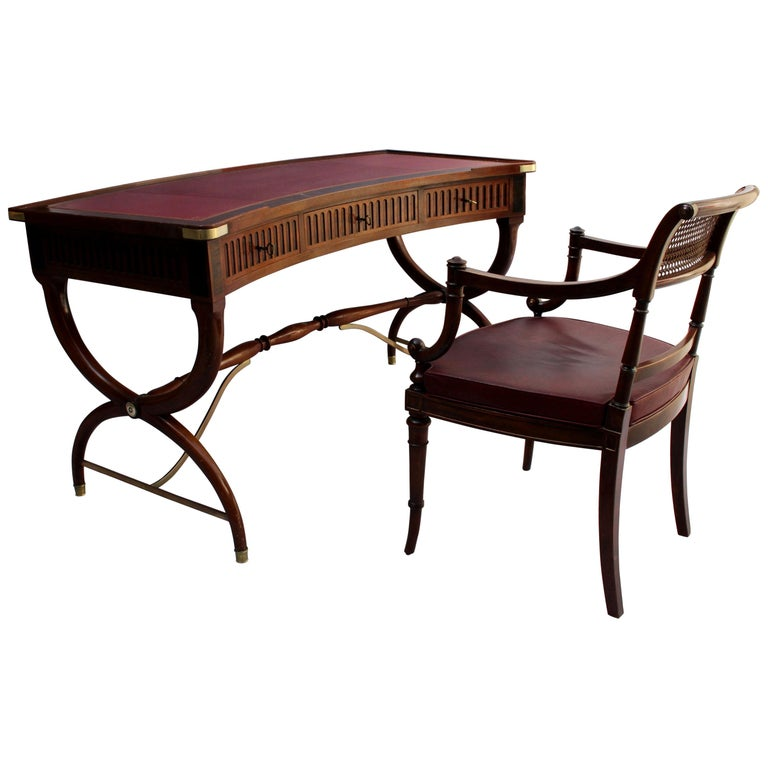 Fine French Neoclassical Mahogany Curved Desk and Armchair For Sale