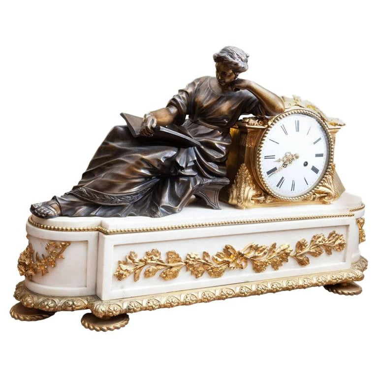 Fine French Neoclassical Marble and Gilt Bronze Ormolu Mantel Clock For Sale