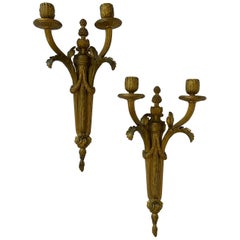 Fine French Neoclassical Regency Bronze Empire Two Arm Swag Urn Two Arm Sconces