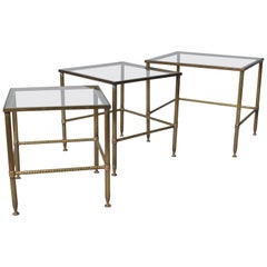 Midcentury French Nest Tables, Brass, 1950s