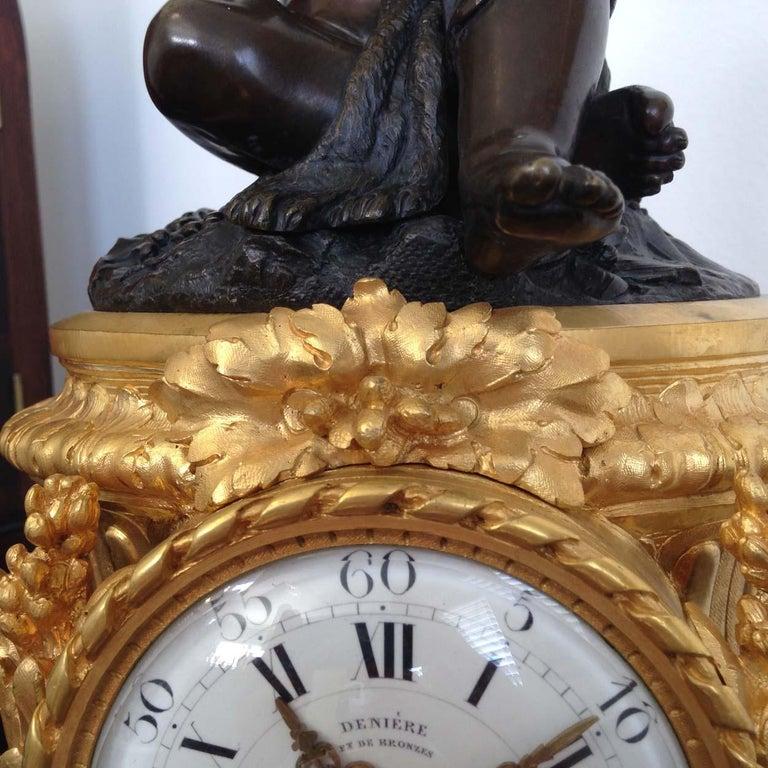 Fine French Ormolu and Bronze Mantel Clock by Deniere, Paris, Circa 1850 For Sale 4