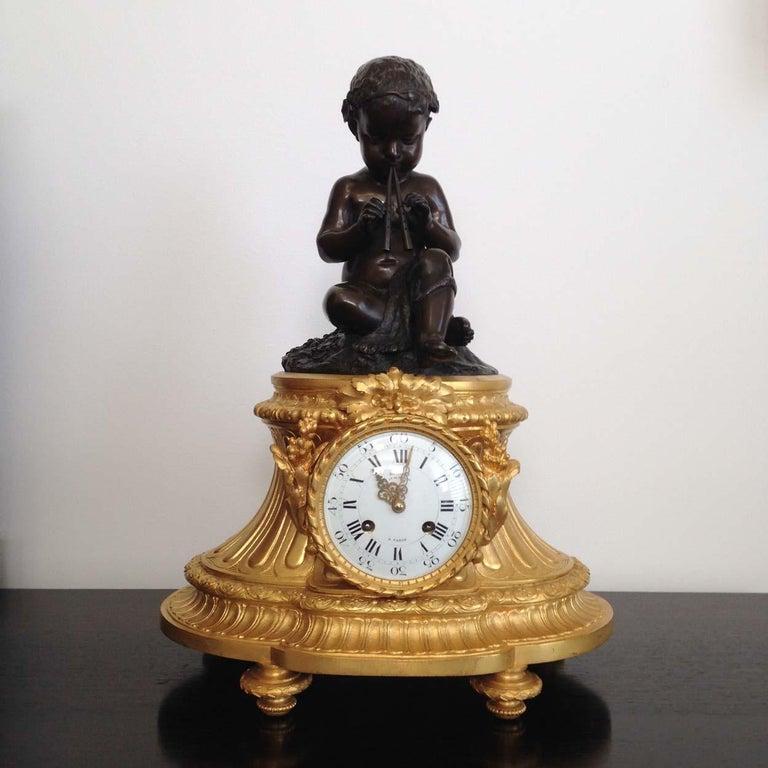 Louis XVI Fine French Ormolu and Bronze Mantel Clock by Deniere, Paris, Circa 1850 For Sale