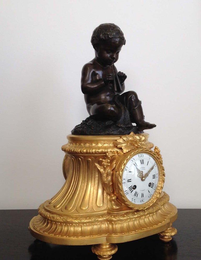 Patinated Fine French Ormolu and Bronze Mantel Clock by Deniere, Paris, Circa 1850 For Sale