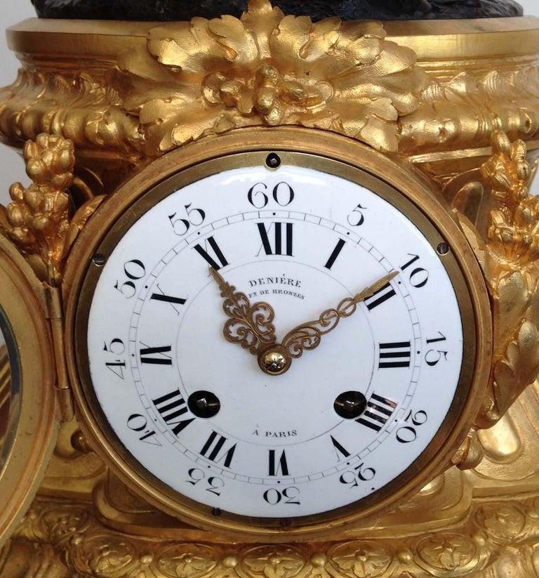 Fine French Ormolu and Bronze Mantel Clock by Deniere, Paris, Circa 1850 In Good Condition For Sale In Melbourne, Victoria
