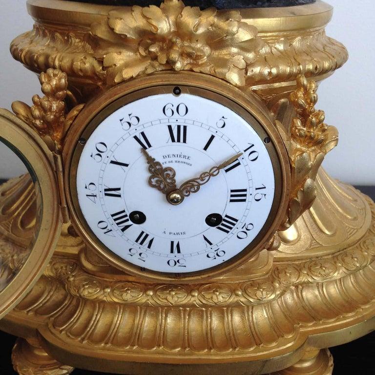 19th Century Fine French Ormolu and Bronze Mantel Clock by Deniere, Paris, Circa 1850 For Sale