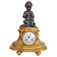 Fine French Ormolu and Bronze Mantel Clock by Deniere, Paris, Circa 1850