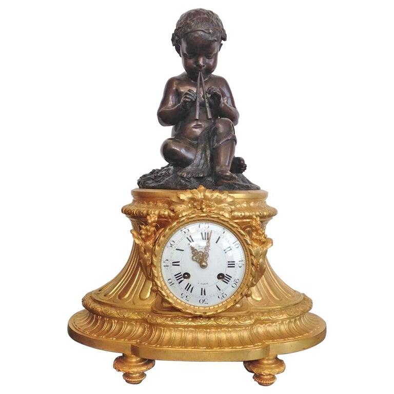 Fine French Ormolu and Bronze Mantel Clock by Deniere, Paris, Circa 1850 For Sale
