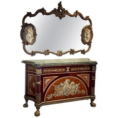 Fine French Ormolu-Mounted Commode a Vantaux with a Mirror, Late 19th Century