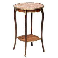 Fine French Rosewood And Red Marble Table