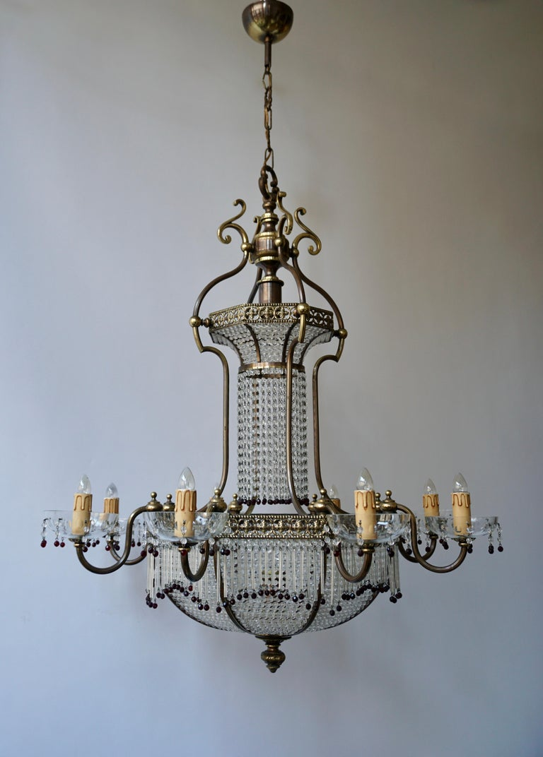 Hollywood Regency Fine French Sac a Pearl Chandelier For Sale