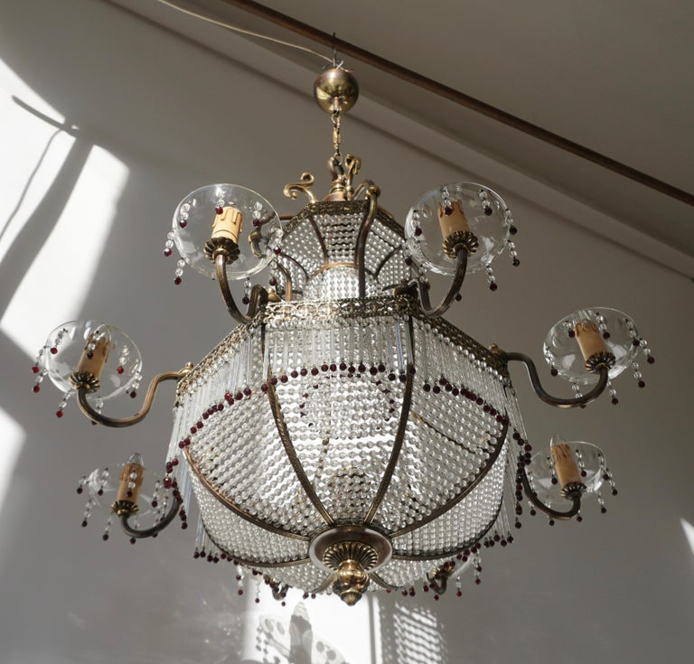 Brass Fine French Sac a Pearl Chandelier For Sale