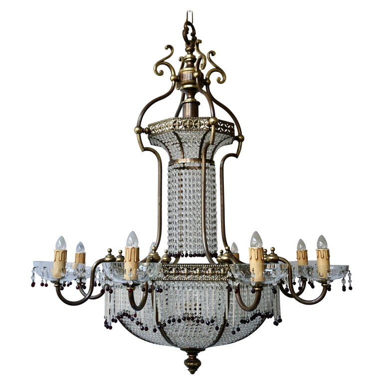 Fine French Sac a Pearl Chandelier For Sale